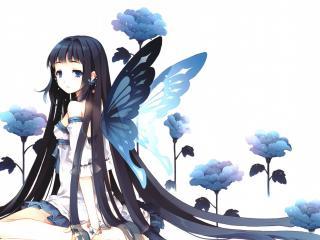 обои Длинноволосая девочка с крыльями и цветы фото