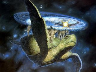 обои Вселенная на черепахе и трёх китах фото