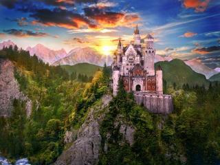 обои Замок на вершине большой горы фото