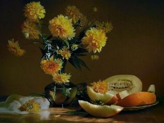 обои Натюрморт - Золотые шары с дыней фото