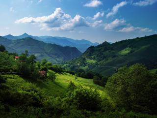 обои Домики на зеленых холмах фото
