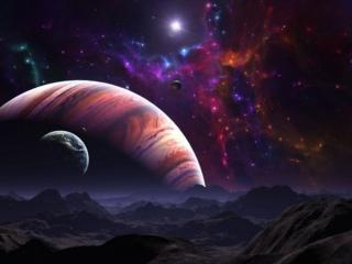 обои Планеты и звёзды - вид с чужой планеты фото