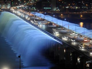 обои Мост с фонтанами Южная Корея фото