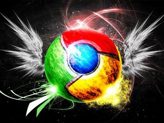 обои Браузер Google chrome с крыльями фото