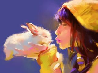 обои Девочка целует кролика фото