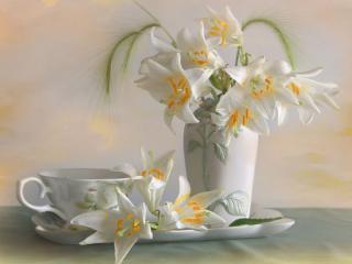 обои Натюрморт - Белые лилии в вазе фото