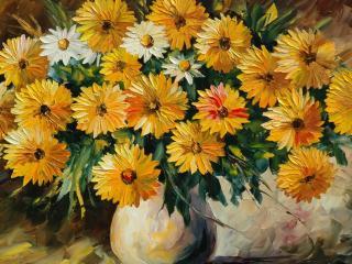 обои Нарисованный букет желтых цветов фото