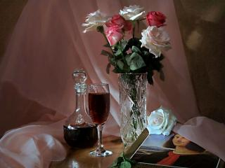 обои Натюрморт - Розы и вино фото