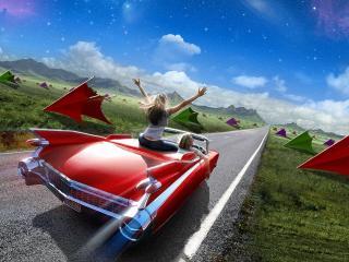 обои На красном кабриолете на свободу фото
