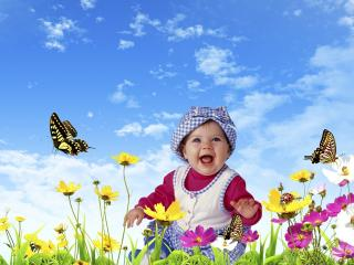 обои Девочка в цветочном поле фото