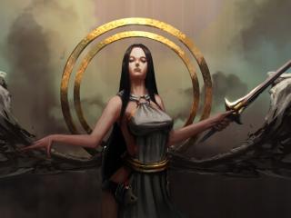 обои Вольяжная царица с мечем фото