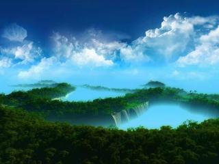 обои Туманное утро над зеленью и водопадом фото