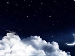 обои Звездное небо над белыми облаками фото