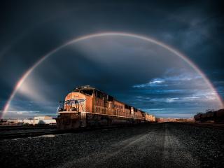 обои Радужное прибытие поезда фото