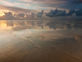 обои Пляж под облачным небом фото