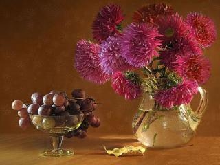 обои Натюрморт - Астры с виноградом фото