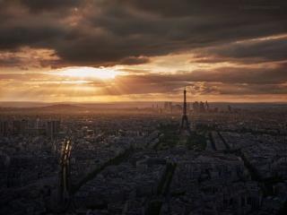 обои Закат в Париже фото