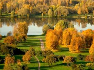 обои Осенняя сказка на озере фото