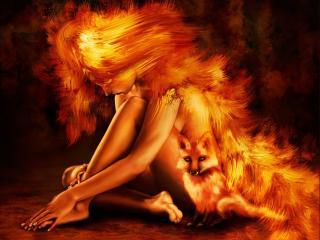 обои Огненная девушка с лисой фото