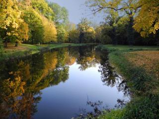 обои Октябрький вечер в зеркалье пруда фото