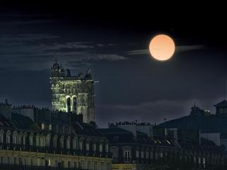 обои Полная луна над Парижем фото