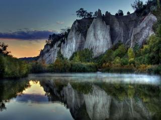 обои Рассвет на горном озере фото