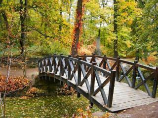 обои Деревянный мостик в осеннем парке фото