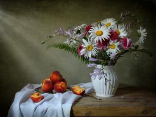 обои Натюрморт - Цветы и нектаринки фото