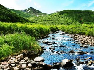 обои Летний ручей с голубой водой,   среди высоких зеленых холмов фото