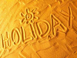 обои Пляж,   надпись на песке - HOLIDAY фото