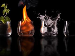 обои Четыре стихии в стаканах