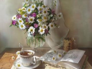 обои Натюрморт - Чай с цветами фото