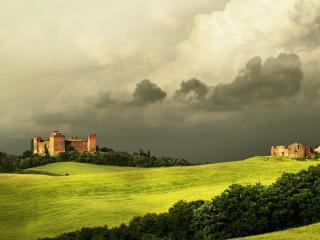 обои Старый замок под грозовыми тучами фото
