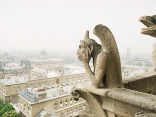 обои Охранники-гаргульи над городом фото