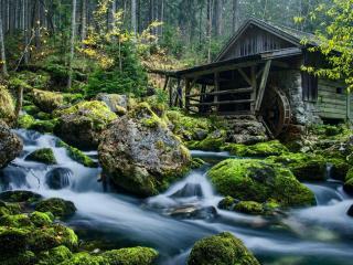 обои для рабочего стола: Осенний ручей у водяной мельницы