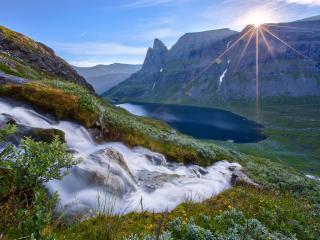 обои Ручей на летнем склоне,   в свечении солнца фото