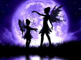 обои Два ангела на фоне луны фото