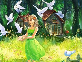 обои Девочка кормящая голубей фото