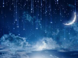 обои Звездопад при растущей луне фото