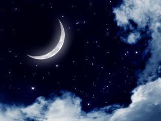 обои Серебрянный месяц и звезды на небе фото