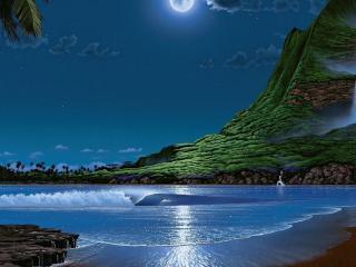 обои Сказочный остров в лунном свете фото