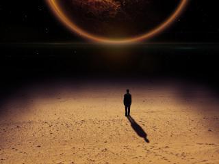 обои Встреча с огромной планетой фото