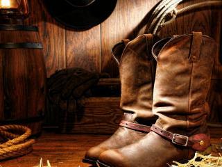 обои Ковбойские сапоги перчатки и канат фото