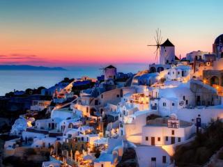 обои Вечерний остров Санторини фото