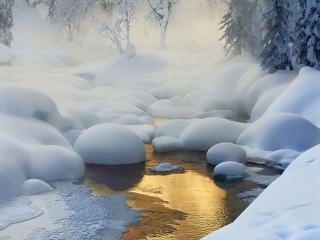 обои Зимний пейзаж у ручья фото