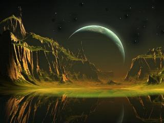 обои Чужая планета на темном фоне фото