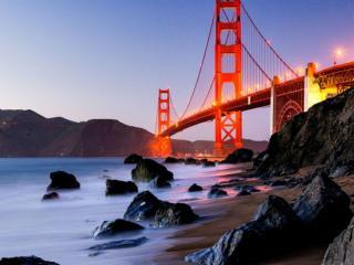 обои Золотые Ворота — висячий мост через пролив Золотые Ворота фото