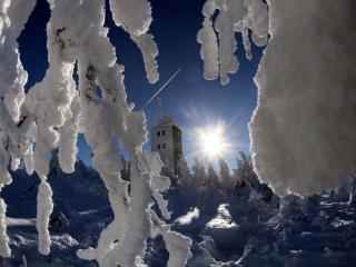 обои Ночной зимний пейзаж фото