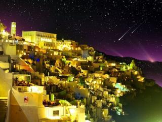 обои Тёплая ночь на острове Санторини фото