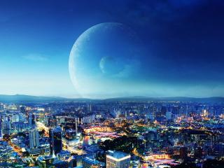 обои Две планеты над мегаполисом фото